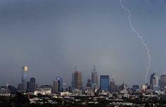 Lightning above Melbourne - Feb 2015 Seattle Skyline, New York Skyline, Melbourne Weather, Too Close For Comfort, Blue Leaves, Lightning Strikes, San Francisco Skyline, Travel, Voyage