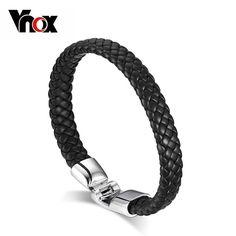 Men's Leather Bangle Bracelet