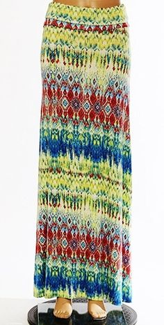 Tie dye maxi skirt fold over waist SZ SM and L. by Foreverpeace, $19.99
