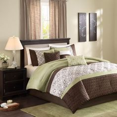 Madison Park Briggs 7-Piece Comforter Set in Green - Bed Bath & Beyond
