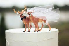Deer wedding cake topper-Hunting wedding cake topper-Deer bride and groom-Hunting-Buck-Wedding Cake Topper via Etsy