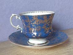 Vintage 1960's Blue teacup and saucer Elizabethan by ShoponSherman