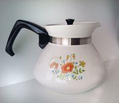 Vintage Tea Pot 6 cup Corning Ware,Wildflower pattern on Etsy, $12.00