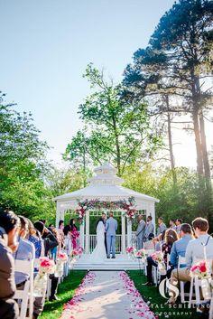 Outdoor wedding ceremony, live flowers