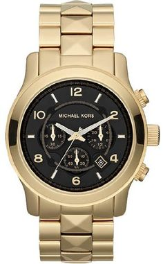 Michael Kors MK5795 Women's Watch. Gold-tone stainless steel bracelet with pyramid studs.