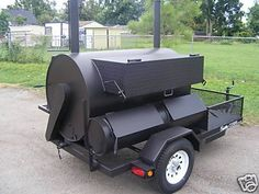 BBQ Trailers For Sale   BBQ Rotisserie Smoker Pit w/ Warmer Box and Trailer for sale