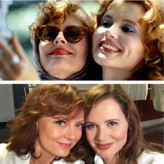 | Susan Sarandon posted on twitter the old and the new selfie with the co-star of the film ''Thelma and Louise'' of 1991, Geena Davis past  now.