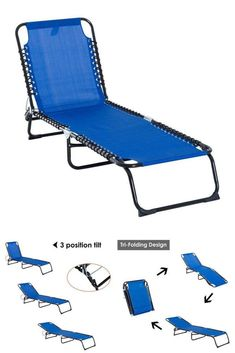 Outdoor Reclining Lounge Cot Portable Folding Beach Camping Chair Bed Furniture #OutdoorRecliningLoungeCot