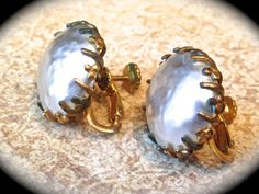 Miriam Haskell Large Baroque Pearl Earring by JNPVintageJewelry