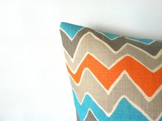 A fabulous new chevron design in turquoise, orange, and grey! Turquoise Orange Pillow Covers  20 x 20 One by PillowStyles, $20.50