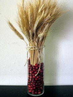 autumn centerpiece | cranberries & wheat