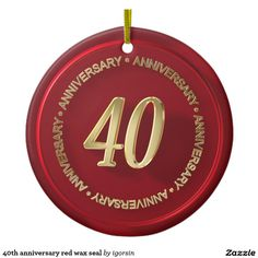 40th anniversary red wax seal Double-Sided ceramic round christmas ornament