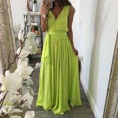 Ashley Slit Maxi Dress - Wild Lime