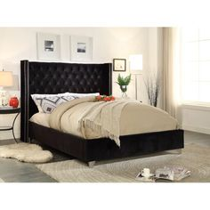 Jennie Upholstered Platform Bed by Willa Arlo Interiors Black Upholstered Bed, Upholstered Platform Bed, Platform Bedroom, Black Velvet Fabric, Super King Size Bed, Meridian Furniture, Bed Reviews, Black Furniture, Classic Furniture