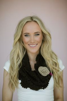 Brown Crochet Infinity Scarf Indie & Bohemian Accessories with Velvet Ribbon and Knitted Flower Women's Boho Scarf (SCF-56)