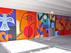 Idea for individual panels that coordinate for a collaborative mural Murals Street Art, Mural Wall Art, Mural Painting, Garden Mural, Arte Fashion, School Murals, Collaborative Art, Art Abstrait, Art Classroom