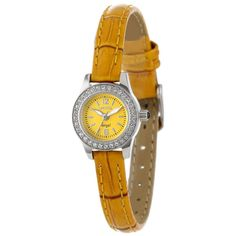 Invicta 13657 Women's Angel Mini Yellow Dial Gold Leather Strap Crystal Accented Watch