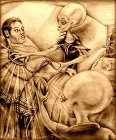 """ALIEN ABDUCTION~ some claim it is a physical phenomena and others claim it is a """"psychic"""" phenomenon, often akin to possession or """"crossing over,"""" during death. Arte Alien, Alien Art, Aliens And Ufos, Ancient Aliens, Paranormal, Alien Photos, Alien Abduction, Alien Creatures, Science Fiction Art"""