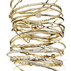Ippolita gold and diamond bangles.
