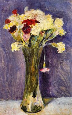 Carnations in a green vase, August Macke