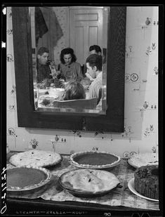"""Pumpkin pies and Thanksgiving dinner at the home of Mr. Timothy Levy Crouch, a Rogerene Quaker living in Ledyard, Connecticut, November // Photo by Jack Delano for the Farm Security Administration.Shorpy Historical Photo Archive Source by Thanksgiving History, Vintage Thanksgiving, Vintage Holiday, Thanksgiving Pies, Vintage Pictures, Old Pictures, Old Photos, Vintage Images, Time Pictures"