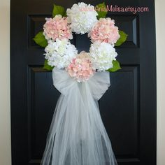 MORE COLORS spring wreath-summer wreaths-front door wreaths-wedding wreaths for door-hydrangea wreath wedding-front door decorations-veil