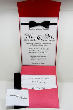 """This listing is for custom made wedding invitations of any color of your choice. Please select a custom request and tell me what you looking for. The sample shown is done in Pearlescent Metallic Crimson Red and white with black ribbon and bow tie. ALL HIGH QUALITY SUPPLIES USED. ONCE AN ORDER IS REQUESTED, A SAMPLE WILL BE SENT FOR APPROVAL AFTER DEPOSIT IS MADE. EVERYTHING ABOUT THIS INVITE CAN BE CUSTOMIZED.   Approximately 5"""" x 7"""" card invitation. Front: This card has a square with the…"""