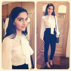 Sonam Kapoor - love the bow tie blouse