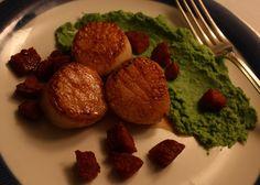 Kamskjell med sprøstekt choritzo og kremet ertepure