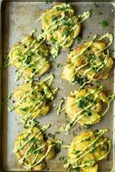 Crispy Smashed Potatoes with Avocado Garlic Aioli from Oh She Glows