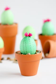Find creative Easter egg ideas at StuffDOT, like these cactus Easter eggs via deliacreates!
