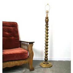 Carved Wood Floor Lamp / Vintage 1970s Barley Twist Tall Wood Floor Lamp