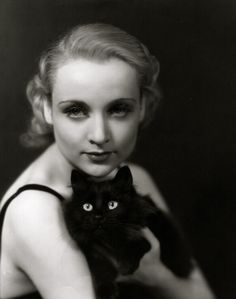Carole Lombard with cat friend