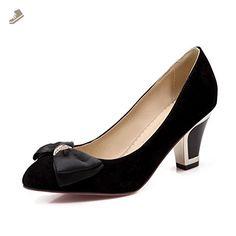 BalaMasa Girls Pull-On Solid Kitten-Heels Pointed-Toe Metal Bowknot Black Rubber Pumps-Shoes - 5 B(M) US - Balamasa pumps for women (*Amazon Partner-Link)