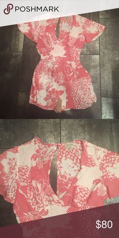 NWT Flynn Skye flutter romper ❌ no trades ❌NWT flutter romper in redtastic. Bought this from another posher but didn't quite fit me. So reselling. Flynn Skye Dresses Mini