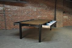 table has 6 cubic feet of storage in the drawers2 - Vintage Industrial Furniture Design