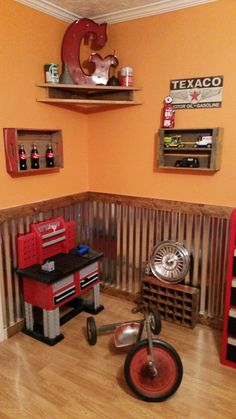 This baby boy's nursery room is decorated with vintage car license Boy Nursery Cars, Baby Boy Rooms, Baby Boy Nurseries, Nursery Room, Kids Bedroom, Baby Room, Nursery Ideas, Vintage Car Nursery, Garage Bedroom