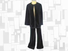 Plus Size Vintage Black Velour Pants Suit 70s Butte Knit Pantsuit Mother of the Bride or Groom, Fall Winter Velvet, Long Jacket & Flares by LunaJunctionVintage on Etsy
