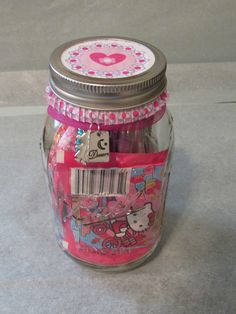 Little Girl Gift Jar! Find it on www.jaritygiftjars.com $3 from every gift jar goes to charity!  #Girl #Birthday #Gift #Jar #Giftjars