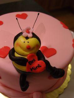 "Fondant ""Bee Mine"" mini cake for valentines"