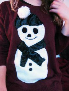 How to make your own christmas jumper Christmas Jumpers, Christmas Time, Xmas, Make Your Own, Make It Yourself, Diy Snowman, Felt Diy, Fancy Dress, My Love