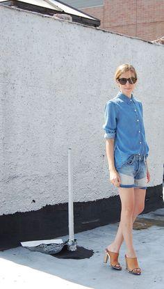 2 ways to wear #patchwork #denim - Ever Denim Shorts, Marc by Marc Jacobs Denim Shirt, Marni Sandals, @Kelly Wearstler Ring  | DeSmitten