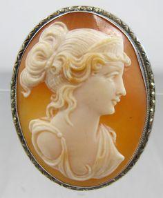 Silver Marcasite Shell Cameo Art Nouveau by TonettesTreasures