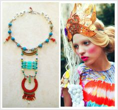 Florence ~ Natural Stone Turquoise Swarovski Statement Necklace by MicciCohanNYC, $69.00