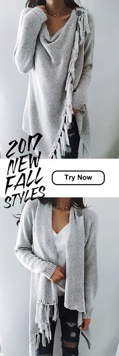 $47.99! Chicnico 2017 Grey Tassel Asymmetrical Hem Shawl Speckled Fringe Cardigan. Get ready for Fall fashion! Find fashionable outfits for the new.