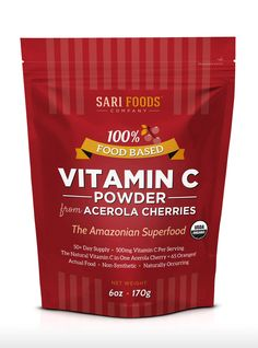 Organic Vitamin C Powder from Acerola Cherries: natural & non-synthetic for immune support, antioxidants and anti-aging.