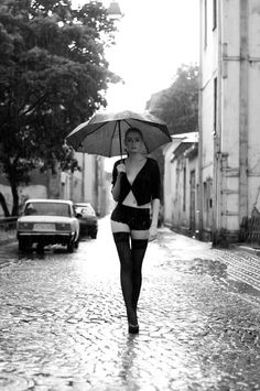 Off To Work, Sexy Print Of Lady With Umbrella Stockings. Black & White Erotic Photography Picture, B And W Prints Framed / Unframed Erotic Photography, Photography Women, Portrait Photography, Black White Photos, Black And White Photography, Foto Portrait, Walking In The Rain, Erotic Art, Beautiful Pictures