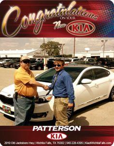 Congratulations Wendell Chitwood on you New 2014 KIA Cadenza! - From Brandon Warton at Patterson Kia