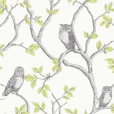 Fine Decor Woodland Owls Green / Grey / Cream - Fine Decor from I love wallpaper UK
