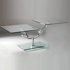 Check out the Chintaly Imports 8124-Cocktail-Table Dual Position Motion Rectangle Glass Cocktail Table